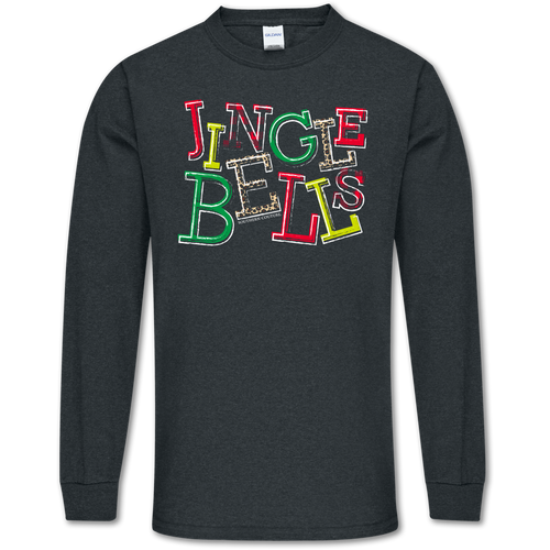 Southern Couture Jingle Bells Dark Heather Long Sleeve