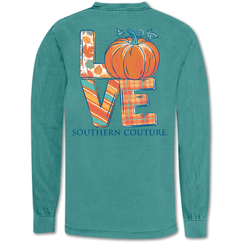 Southern Couture Love Pumpkin Seafoam Long Sleeve
