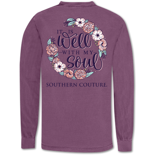 Southern Couture Well With My Soul Berry Long Sleeve