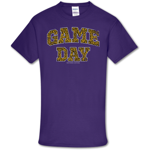 Southern Couture Game Day Leopard Purple Short Sleeve
