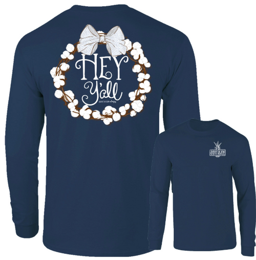 Southernology Hey Y'all China Blue Long Sleeve