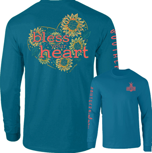 Southernology Sunflower Bless Your Heart Topaz Long Sleeve