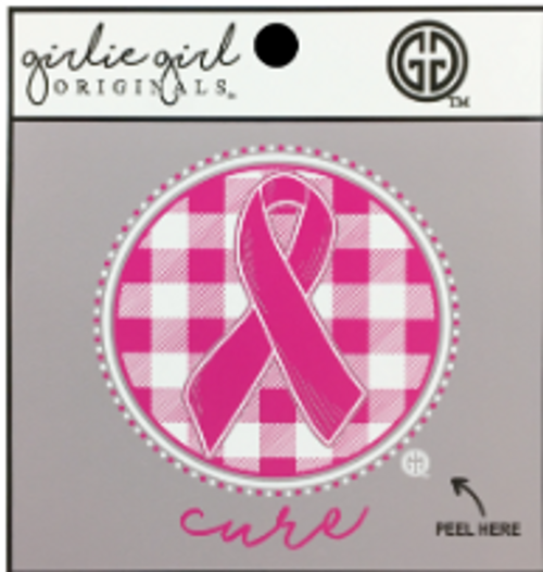 Girlie Girl Originals Cure Ribbon Plaid Decal