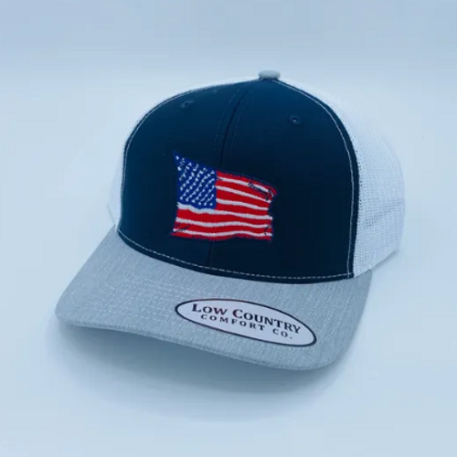 Low Country Comfort Co. USA Flag Wavy Heather Grey/Navy/White Hat