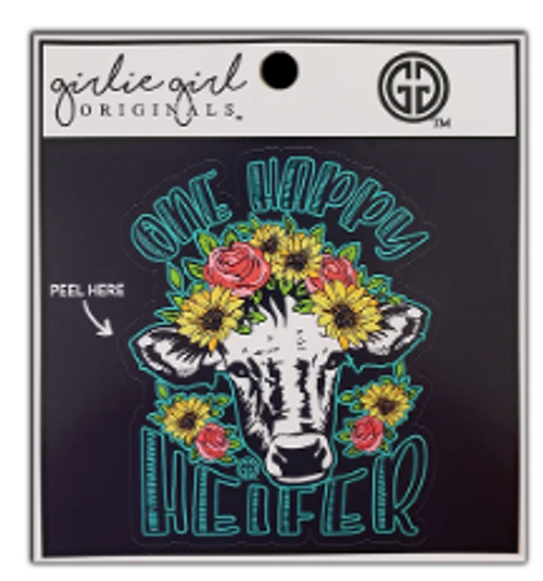 Girlie Girl Originals One Happy Heifer Decal