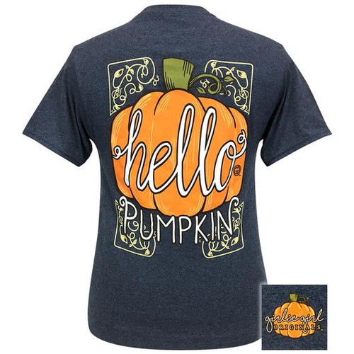 Girlie Girl Originals Hello Pumpkin-Vintage Heather Navy