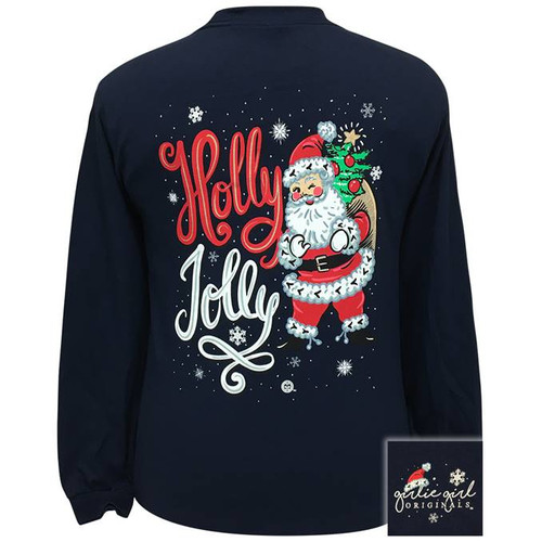 Girlie Girl Originals Holly Jolly Santa Navy LS