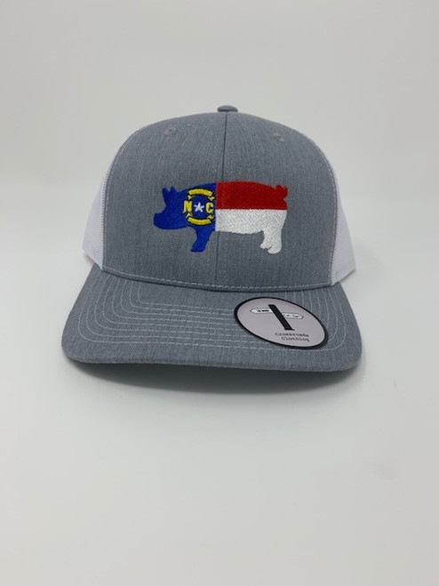 Crossroads Clothing NC Pig Flag Heather/White Hat