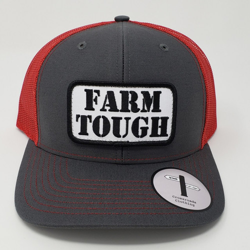 Crossroads Clothing Farm Tough Patch Charcoal/Red Hat