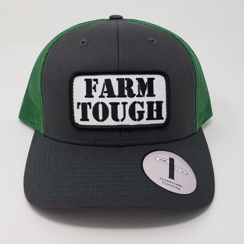 Crossroads Clothing Farm Tough Patch Charcoal/Kelly Green Hat