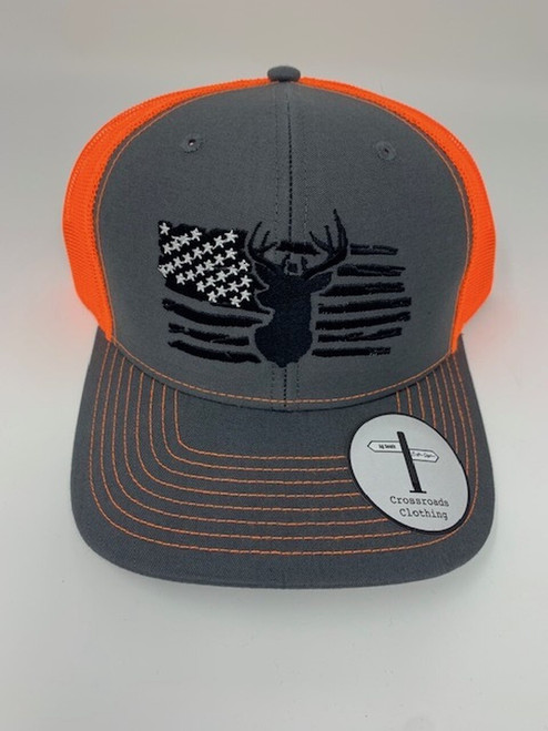 Crossroads Clothing Deer American Flag Hat Charcoal/Orange