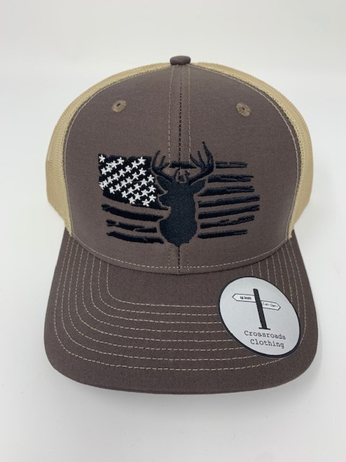 Crossroads Clothing Deer American Flag Hat Brown/Khaki