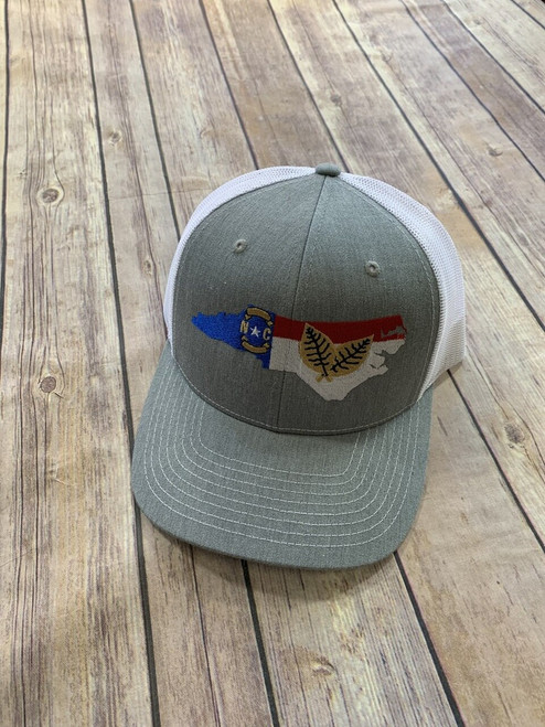 Crossroads Clothing NC Outline Tobacco Hat Heather/White