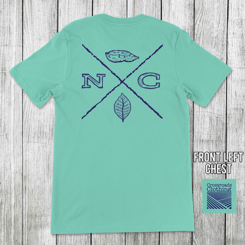 Crossroads Clothing NC Tobacco/Sweet Potato Pocket Tee Mint