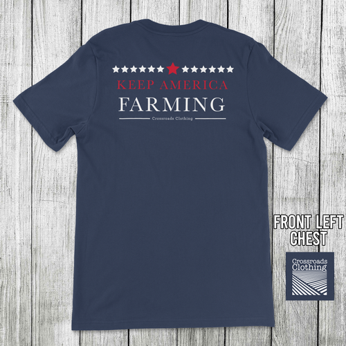 Crossroads Clothing Keep America Farming Pocket Tee Navy