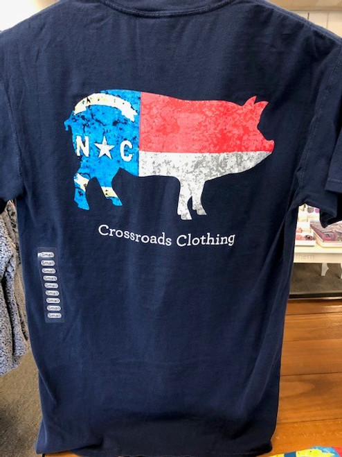 Crossroads Clothing NC Flag Pig Pocket Tee Navy