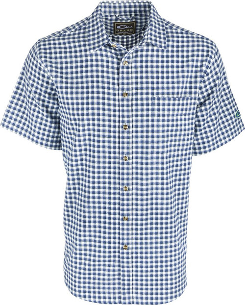 Drake Never Tuck Shirt Navy Plaid