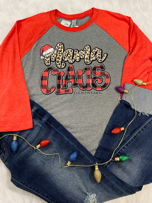 Lightheart Mama Claus Heather Vintage Red Raglan