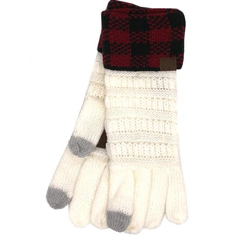 C.C Buffalo Plaid Cuff Ivory Red/Black Gloves