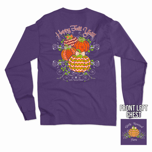 Girls 'Round Here Happy Fall Y'all Long Sleeve