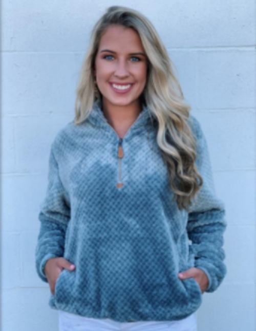 Kat Mcrae 1/4 Zip Light Grey Pineapple Fleece Pullover