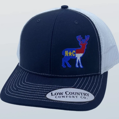 Low Country NC Flag Deer Navy/White Hat