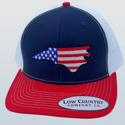 Low Country NC USA Flag Red/Navy/White Hat