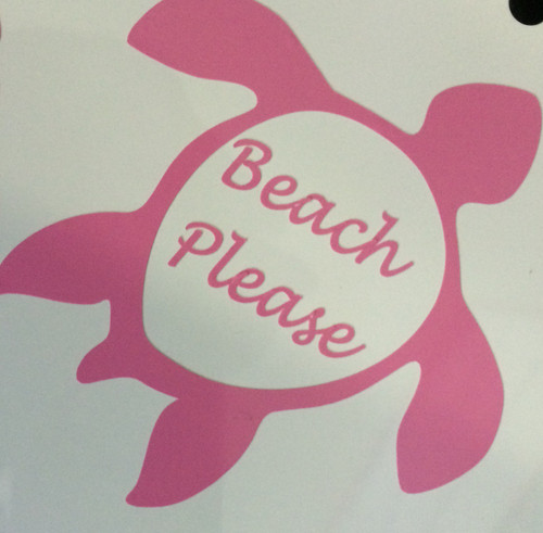 Beach Please Turtle Decal