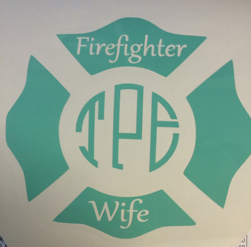 Firefighter Wife Monogrammed Decal