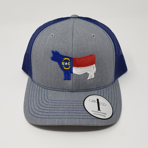 Crossroads Clothing NC Cow Flag Heather Grey/Royal Hat