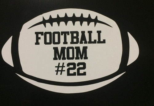 Football Mom Number Decal