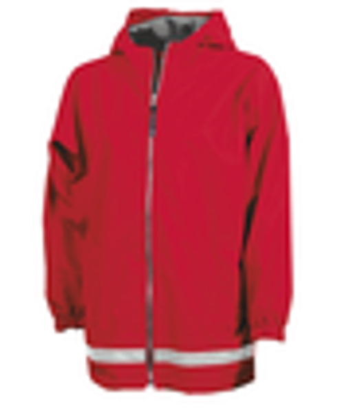 Charles River Apparel Monogrammed Youth New Englander Raincoat Red