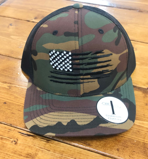 Crossroads Clothing American Flag Camo/Black Hat