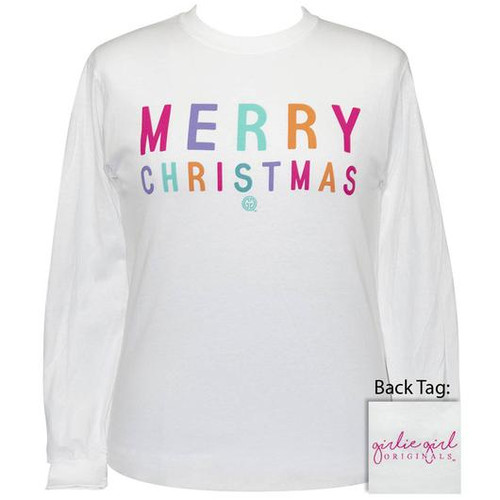 Girlie Girl Originals Merry Christmas White LS