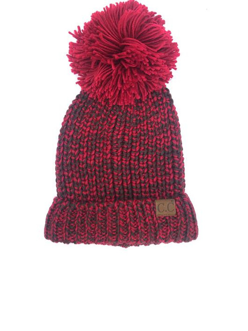 C.C. Brand Burgundy/Coffee Crochet Beanie with Pom