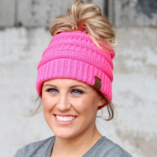C.C. New Candy Pink Messy Bun Beanie