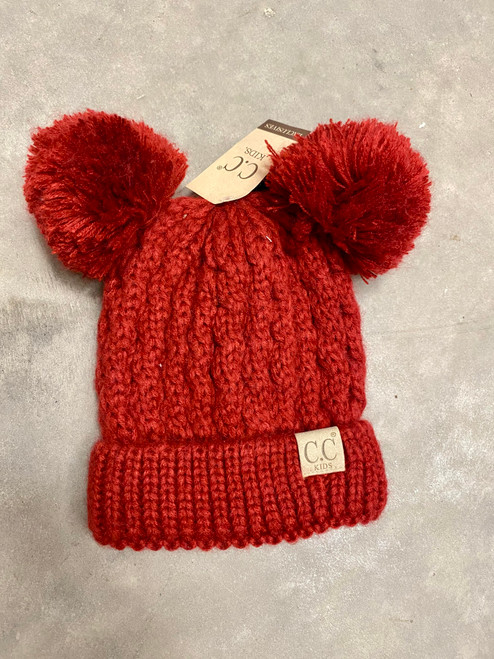 C.C. Youth Double Pom Red Beanie