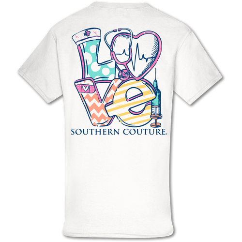 Southern Couture Love Nurse SS White