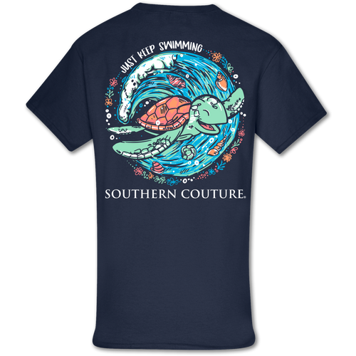 Southern Couture Just Keep Swimming SS Navy