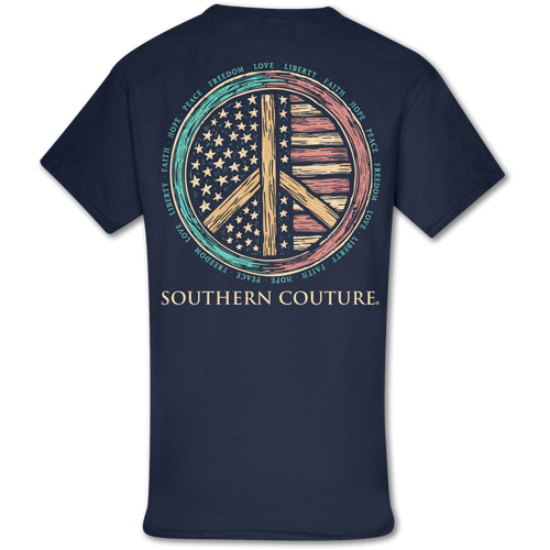 Southern Couture Patriotic Peace Sign SS Navy
