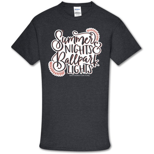 Southern Couture Ballpark Lights SS Heather Navy