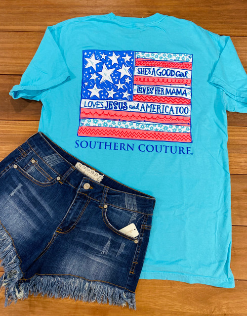 Southern Couture She's A Good Girl Lagoon Blue