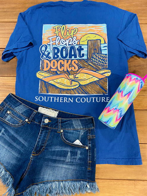 Southern Couture Flip Flops & Boat Docks China Blue