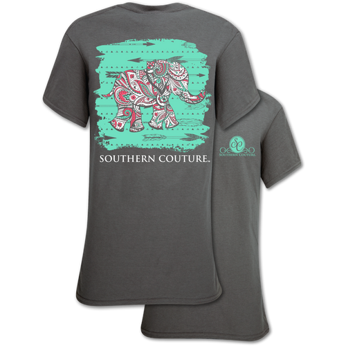 Southern Couture Charcoal Paisley Elephant