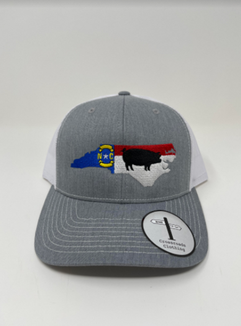 Crossroads Clothing NC Pig Heather Grey/White Hat