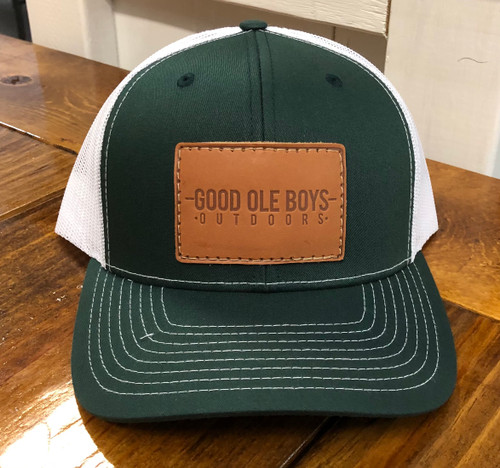Good Ole Boys Outdoors Leather Patch Green/White Hat