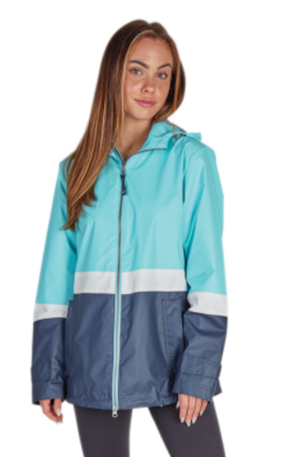 Charles River Monogrammed Raincoat Aqua/White/Navy