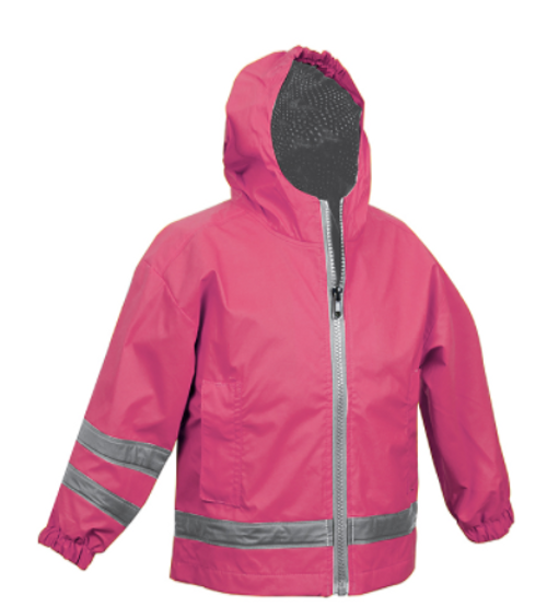 Charles River Monogrammed YOUTH Raincoat Hot Pink