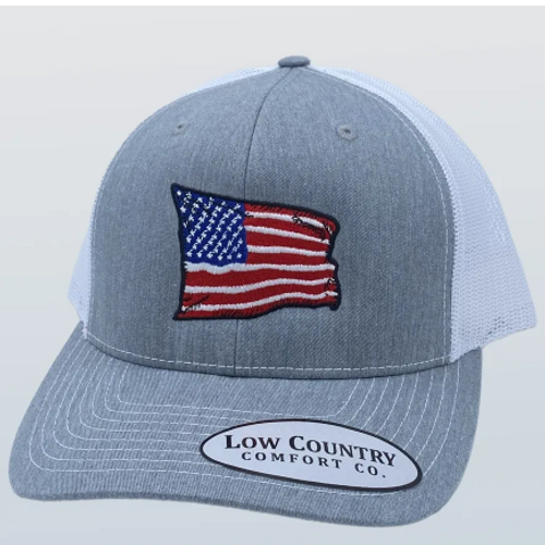 Low Country Comfort Co. USA Wavy Flag Heather Grey/White Hat