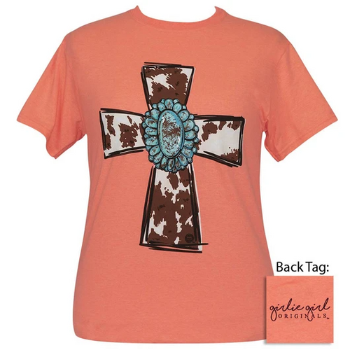 Girlie Girl Originals Turquoise Cow Cross Retro Heather Coral